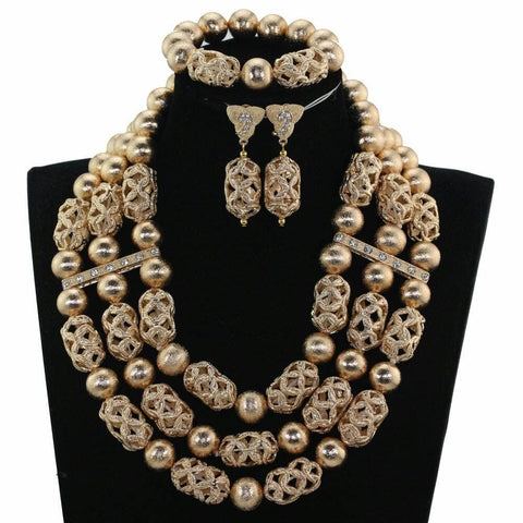 J0005- Multi-Strand Gold Plated Necklace Set (3pc)