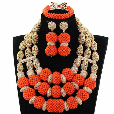 J0006- Multi-Strand Orange Designed Gold Plated Necklace Set (3pc)