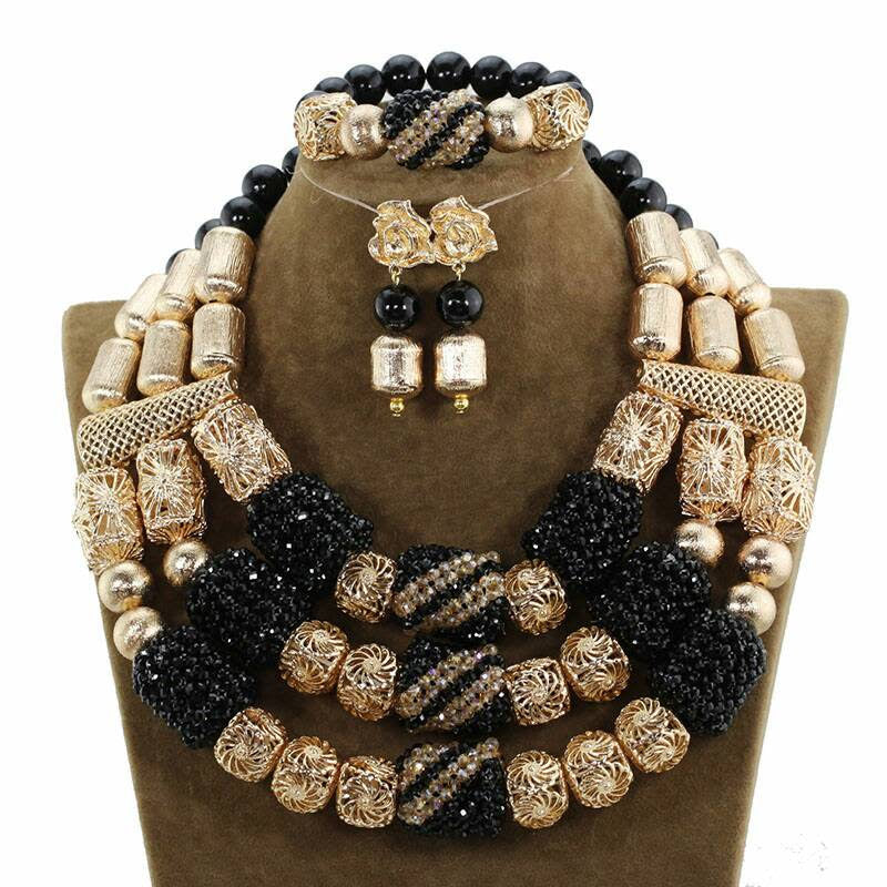 J0007- Multi-Strand Black Designed Gold Plated Necklace Set (3pc)