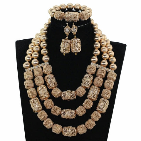 J0008- Multi-Strand Gold Plated Necklace Set (3pc)