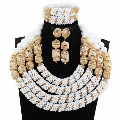 J0016- White Designed Multi-Strand Choker Gold Plated Necklace Set (3pc)