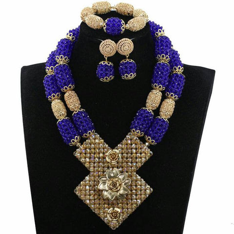 J0017- Large Blue Designed Gold Plated Necklace Set (3pc)