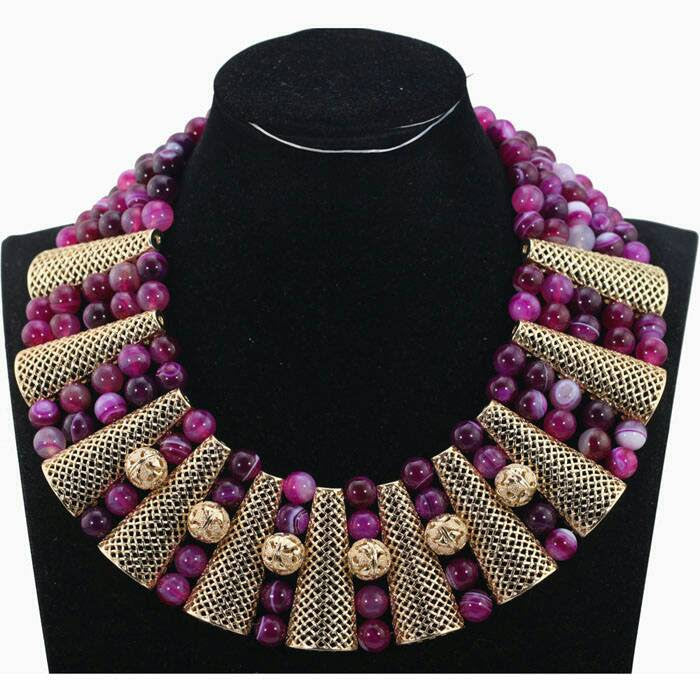 J0010- Purple Beaded Designed Gold Plated Necklace Set (3pc)