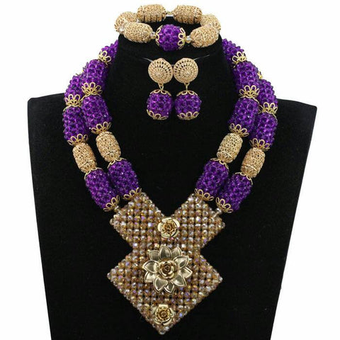 J0018- Large Purple Designed Gold Plated Necklace Set (3pc)