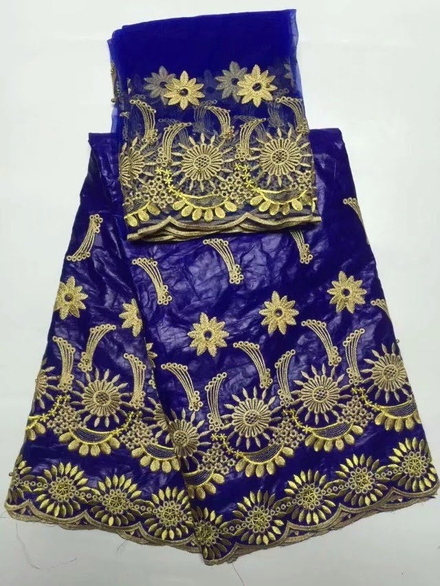 FL0022- Blue Brocade Fabric with Gold Flower Design