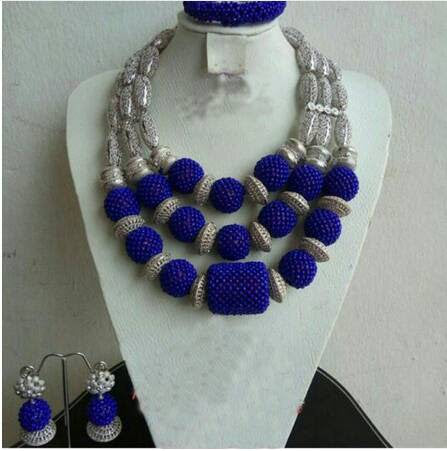 J0011- Blue Beaded Silver Fashion Necklace Set (3pc)