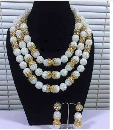 J0019- White Beaded Designed Multi-Strand Gold Plated Necklace Set (3pc)