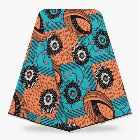 WP0005- Orange and Teal Hollandis Wax Print