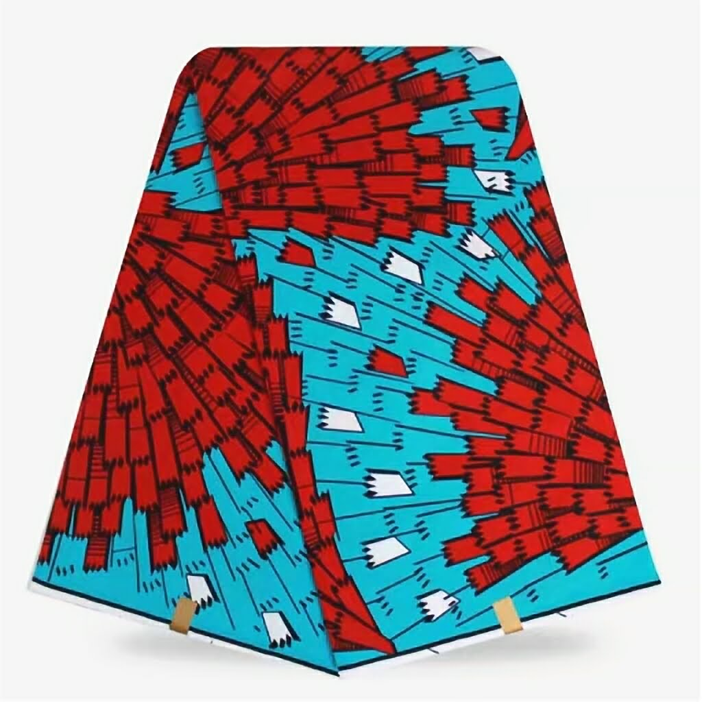 WP0008- Turquoise Hollandis Wax Print with Red Design