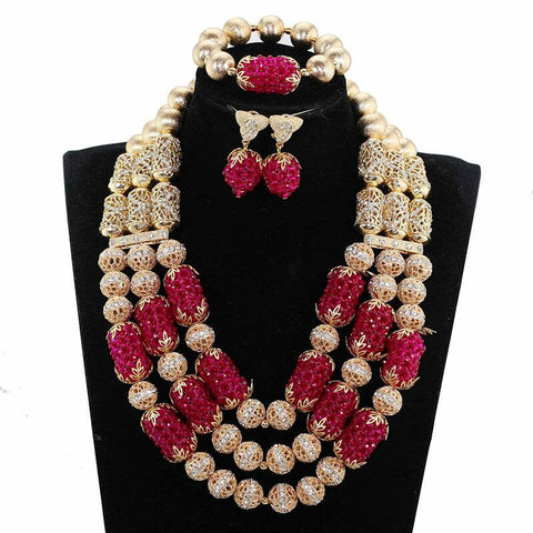 J0014- Burgundy Multi-Strand Gold Plated Necklace Set (3pc)