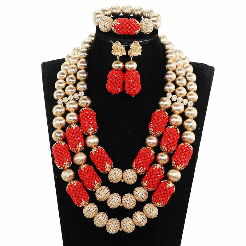 J0013- Red Multi-Strand Gold Plated Necklace Set (3pc)