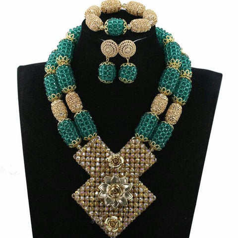 J0012- Large Green Designed Gold Plated Necklace Set (3pc)