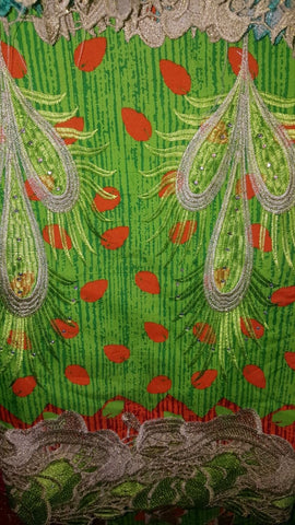 FL0032- Green and Orange Real Wax Print with Leaf Lace Design