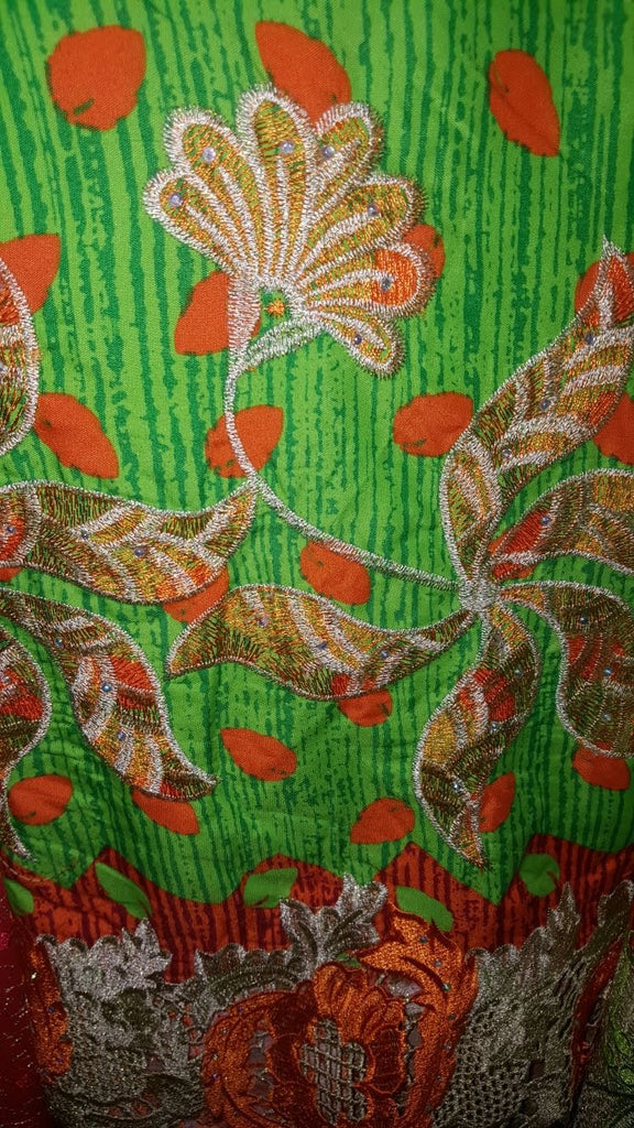 FL0033- Green and Orange Real Wax Print with Flower Lace Design