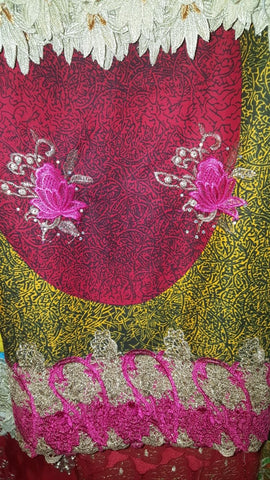 FL0035- Magenta and Yellow Mixed Wax Print