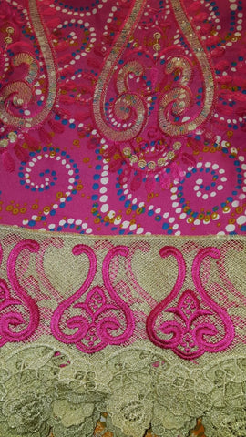 FL0045- Magenta Real Wax Print with Beige/Pink Lace Design