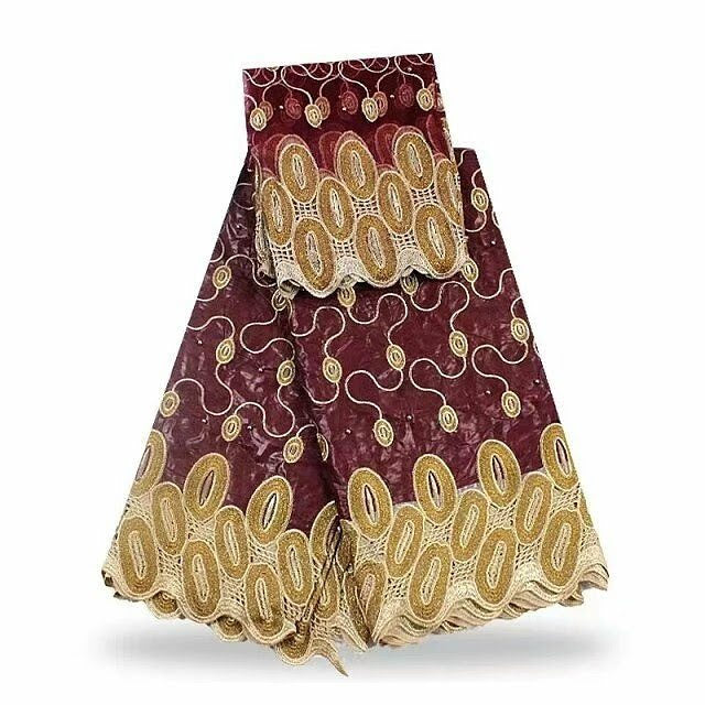 FL0002- Burgundy Brocade Fabric with Gold Design