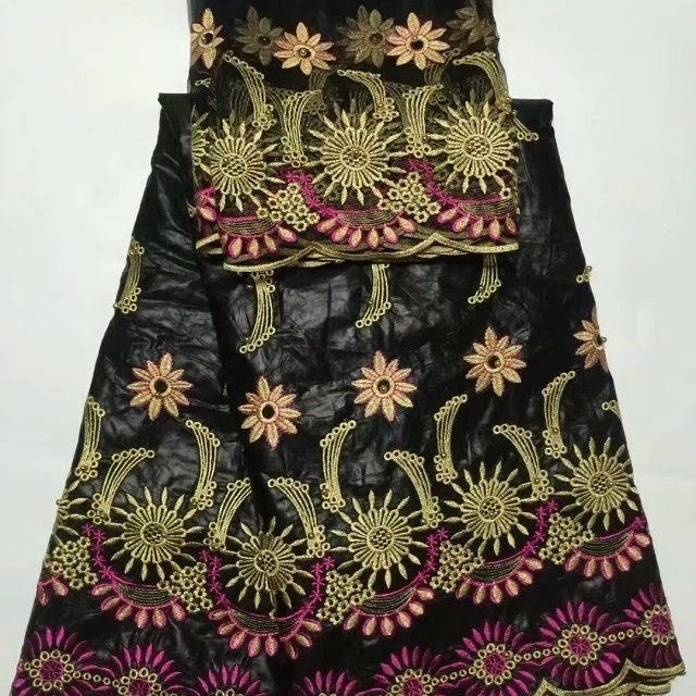 FL0005- Black Brocade Fabric with Tan Flower Design