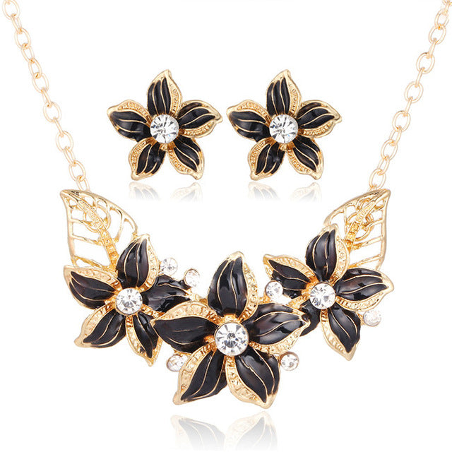 Crystal Flower Jewelry Set Necklace, Statement Jewelry