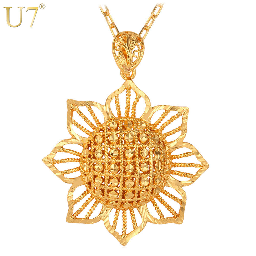 J0022 Sun Flower Pendant, Gold Color Jewelry