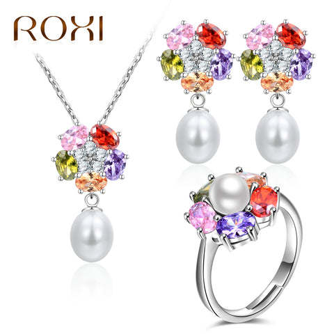 J0020 Silver Pearl Jewelry Sets, Multicolor Zircon Necklace Earring Ring