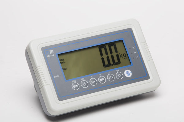 The MI-102 is a weigh indicator. Functions: manual and automatic accumulation, check weighing, and parts counting.
