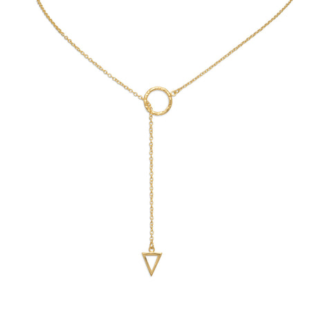 14 Karat Gold Plated Multishape Lariat Necklace 24""