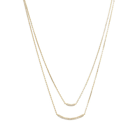"14 Karat Gold Plated Double Strand Curved CZ Bar Necklace 16"" + 2"" extension"
