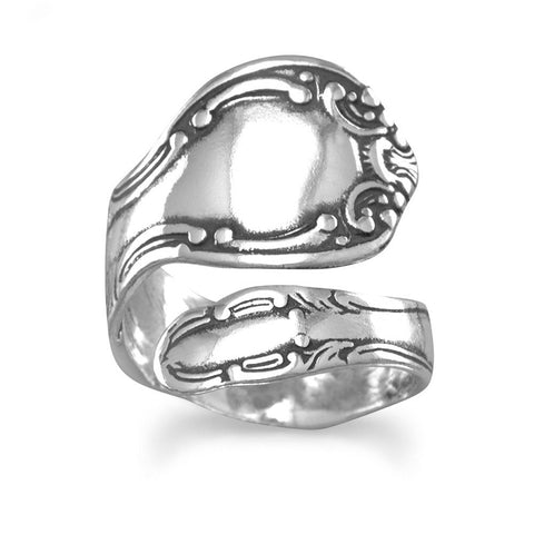 Spoon Ring Adjustable Size 6-11 oxidized 925 sterling silver swirl motif spoon ring