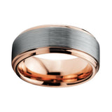 Stylish 8mm Rose Gold Plated Tungsten Carbide beveled Brushed ComfortFit Wedding Band Ring