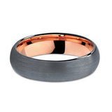 Stylish 6mm Black & Rose Gold Plated Tungsten Carbide Domed Brushed ComfortFit Wedding Band Ring