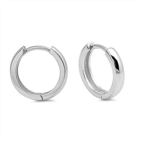 Huggies Earrings Sterling Silver Round Tube Hoop Huggies Earrings (3x14mm)