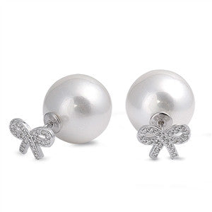 Double-faced: 925 Sterling Silver Fresh Water White Pearl Bow Ribbon Stud Earring Jewelry