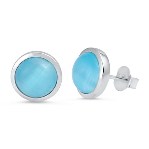 Blue Cat Jewelry: 925 Sterling Silver Blue Synthetic Cat Eye Stud Earring