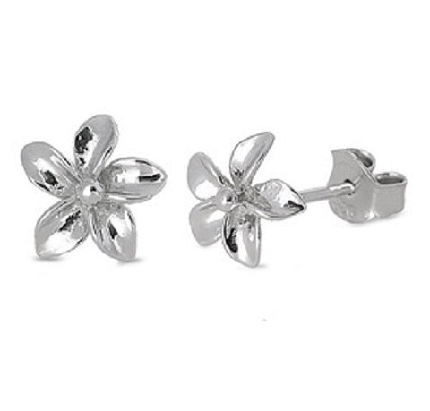 925 Sterling Silver Plumeria Flower Stud Post Earrings (9mm)