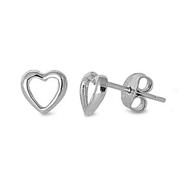925 Sterling Silver Stud Post Heart Earrings