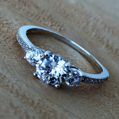 Three Round Stone Engagement CZ Ring