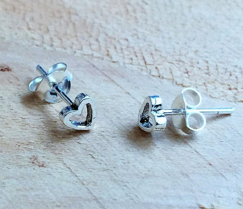 Heart Earrings Jewelry: 925 Sterling Silver Tiny Stud Post Heart Earrings (4mm)