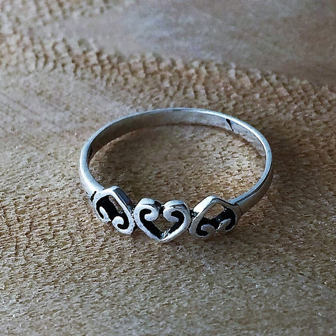 Sterling Silver Simple Plain Three Heart Promise Ring