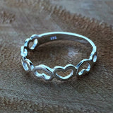 Sterling Silver multiple heart promise ring
