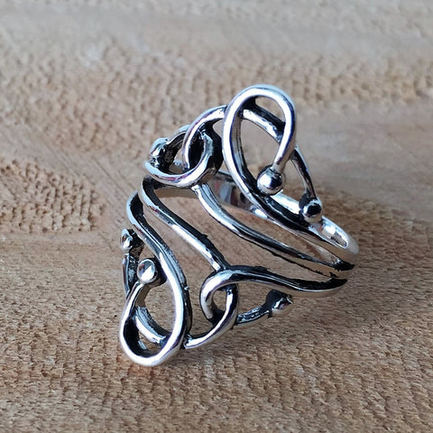 Sterling Silver Love Knot Heart Charm Ring Jewelry