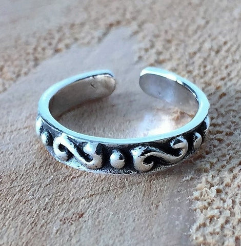 Adjustable Size Toe Ring Solid 925 Sterling Silver Swirl Design Toe Ring (3mm)