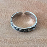 Adjustable Size Toe Ring Solid 925 Sterling Silver Bali Design Toe Ring (Width 4mm)