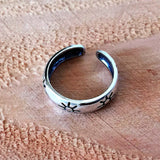 Adjustable Size Toe Ring Solid 925 Sterling Silver Antiqued Cursive Love Toe Ring (3mm)