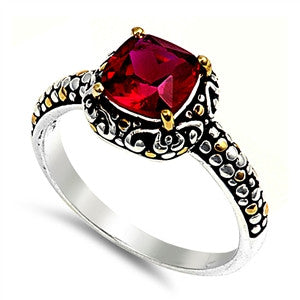 Sterling Silver Celtic Synthetic Ruby Cushion CZ Ring
