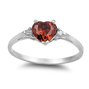 Sterling Silver Heart Simulated Garnet / Clear CZ Promise Ring
