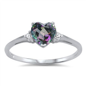 Sterling Silver Heart Mystic Rainbow Topaz, Clear CZ Promise Ring