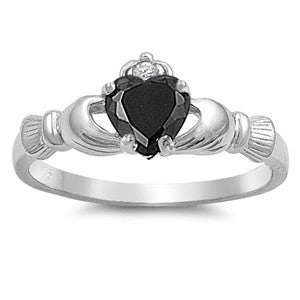 Claddagh Ring 925 Sterling Silver AAA Quality Black CZ Heart Promise Ring