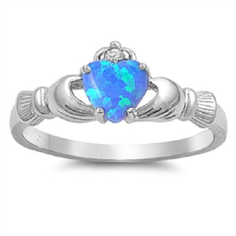 Claddagh Ring 925 Sterling Silver AAA Quality Blue Lab Opal & Clear CZ Heart Promise Ring