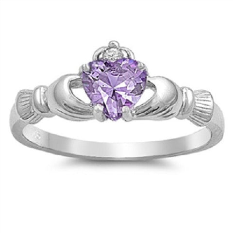 Claddagh Ring 925 Sterling Silver AAA Quality Lavender CZ Heart Promise Ring